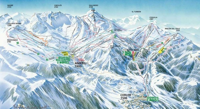 Plano de pistas de la estación de esquí Aramón Cerler